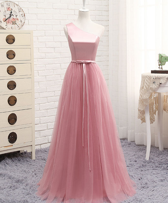A line tulle one shoulder long prom dress, cheap evening dress