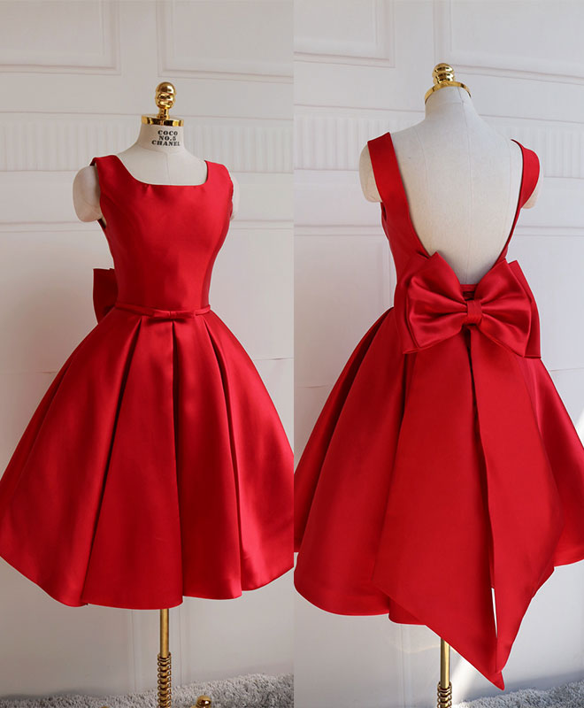 Cute A line satin short prom dress with bow, evenig dress