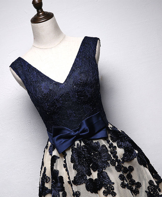 Dark blue lace v neck short prom dress, homecoming dress
