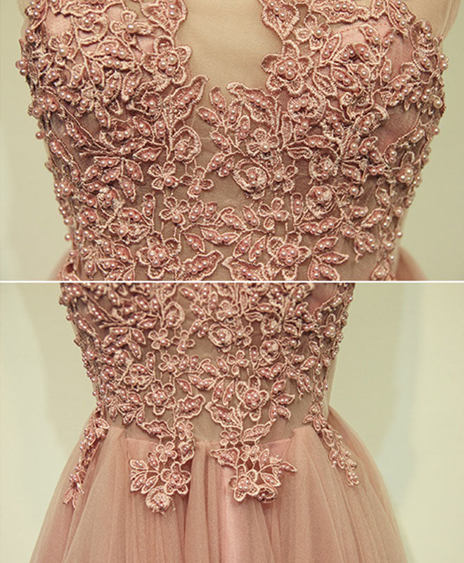Pink tulle lace short prom dress, cheap evening dress