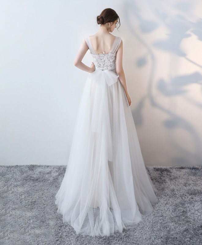 Elegant white lace tulle long prom dress, white evening dress