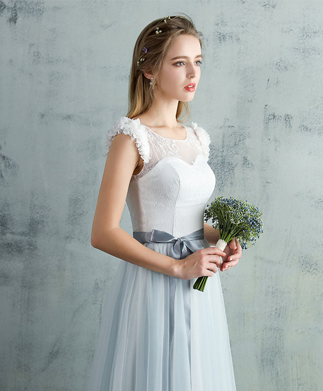 Cute gray tulle lace long prom dress, gray evening dress