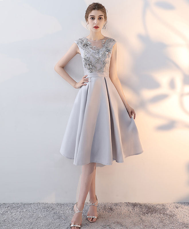 Gray satin lace short prom dress, homecoming dress