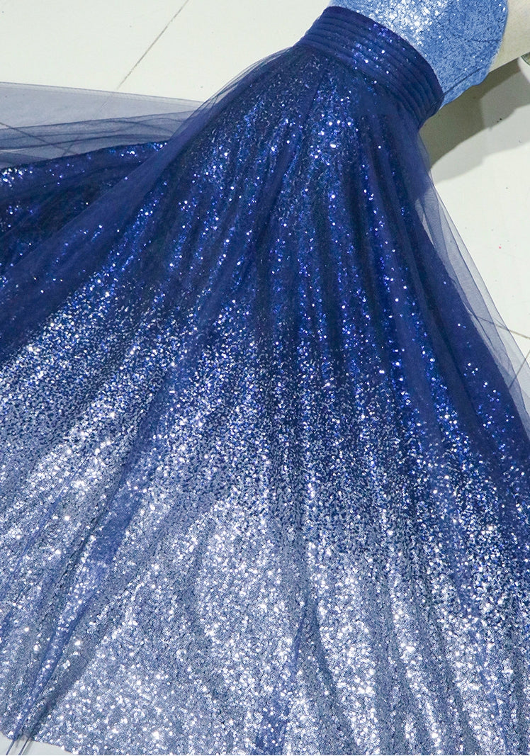 Beautiful blue sequins long prom dress, evening dress