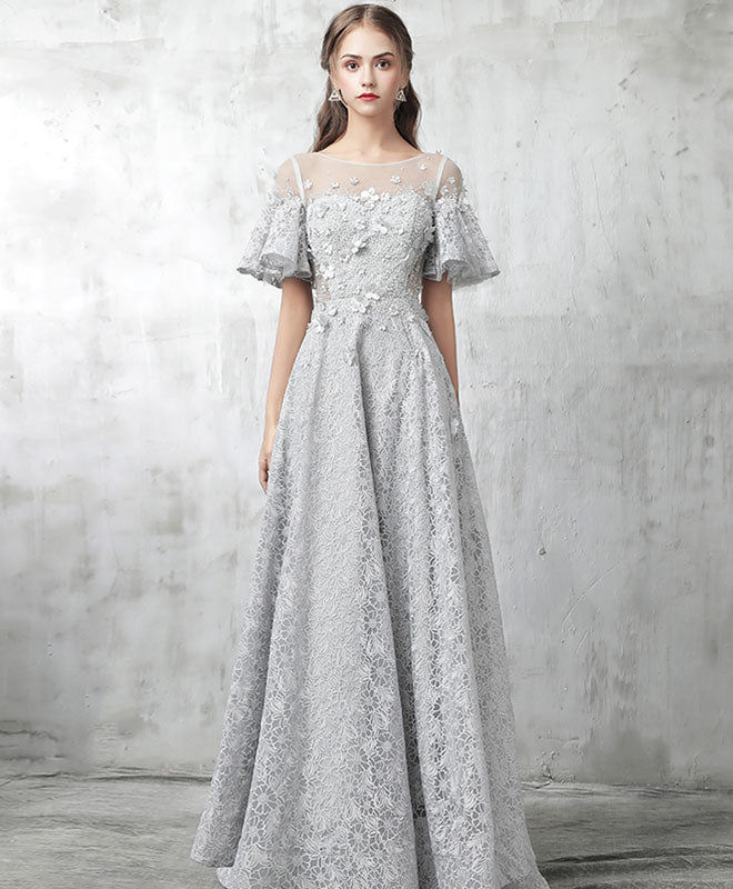 Gray tulle lace long prom dress, gray evening dresses