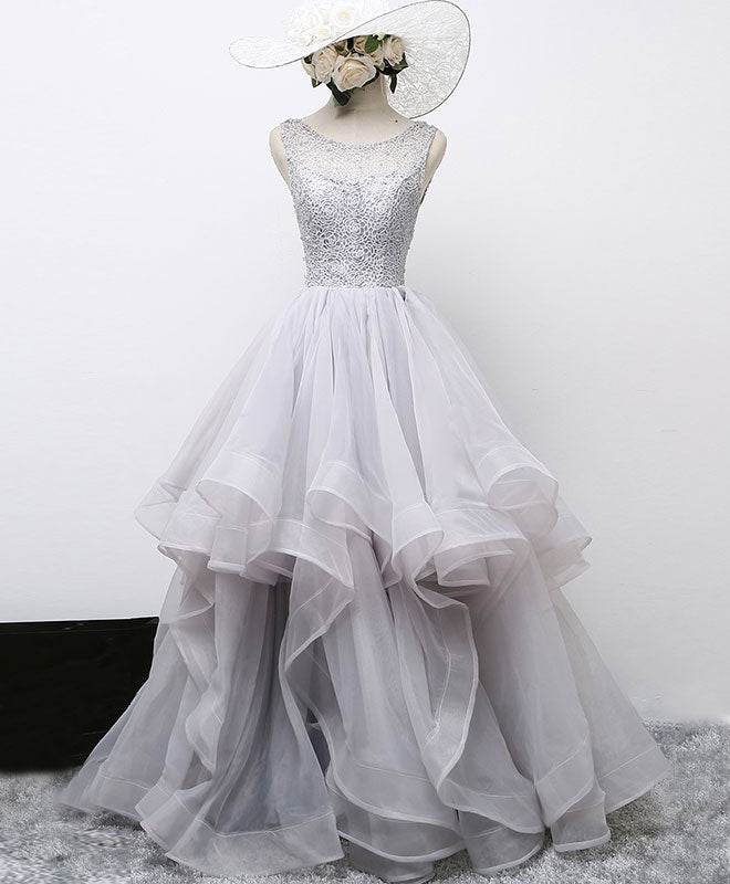 Gray round neck tulle lace long prom gown, formal dress