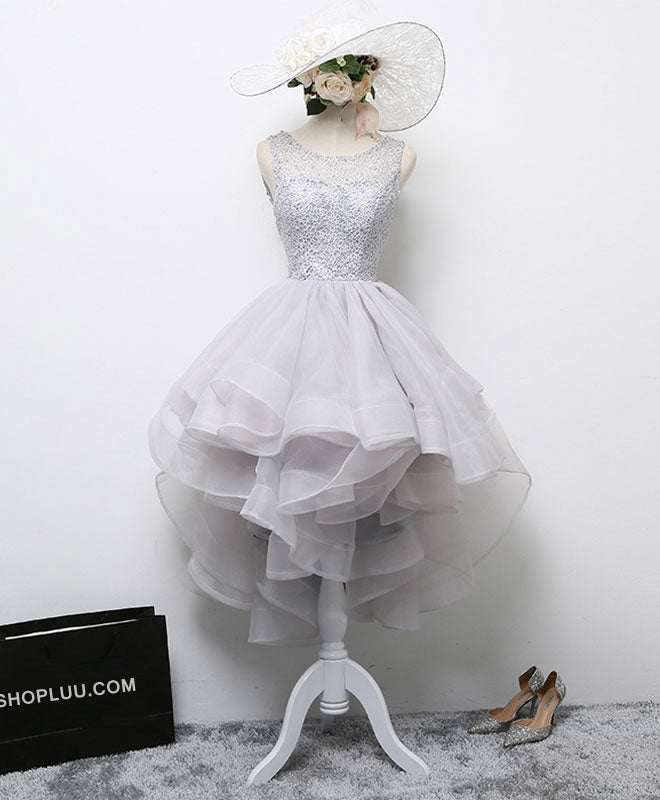 Gray round neck tulle lace short prom dress, formal dress