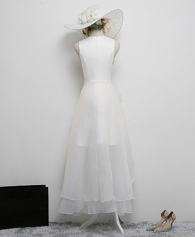 Simple white v neck short prom dress, white evening dress