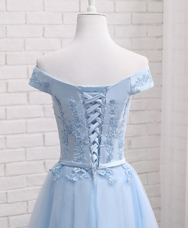 Sky blue A line lace off shoulder prom dress, lace evening dresses