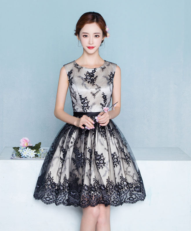 Black lace tulle A line short prom dress, homecoming dress