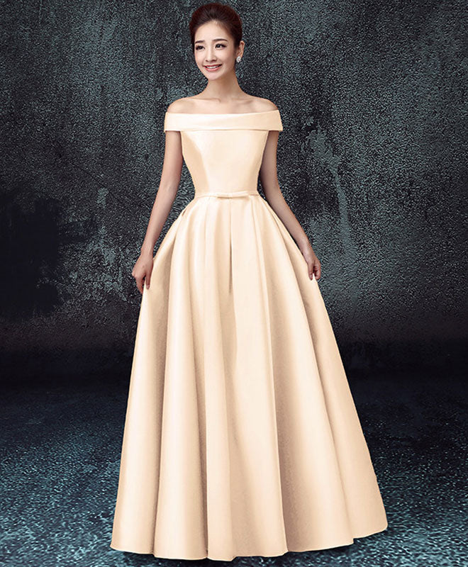 Elegant A line satin off shoulder long prom dress, cheap evening dress
