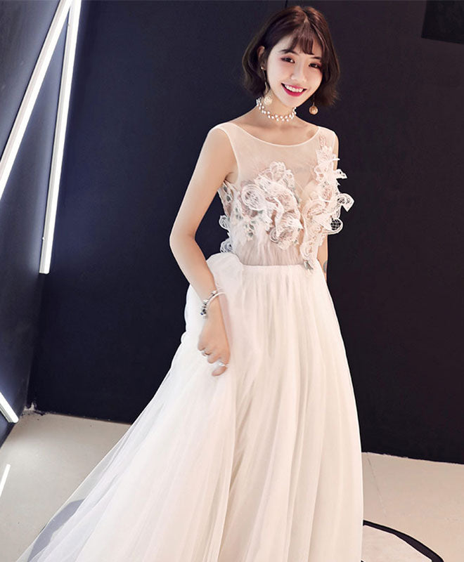 Champagne lace tulle long prom dress, evening dress