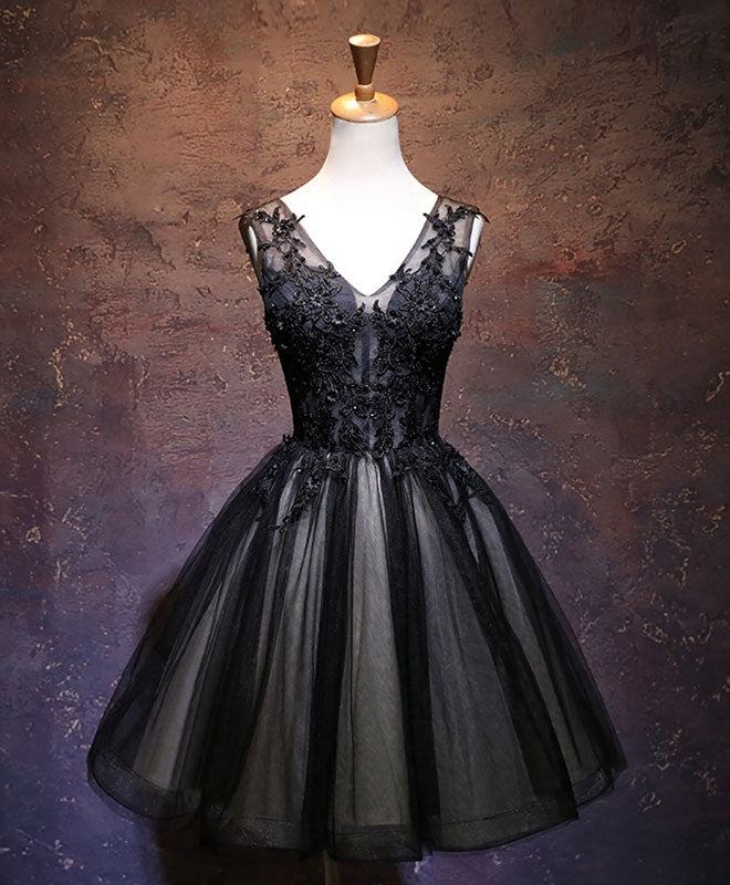 Black v neck lace short prom dress, black party dress