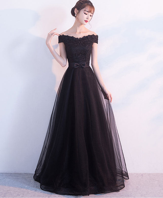 Black lace tulle off shoulder long prom dress, black evening dress