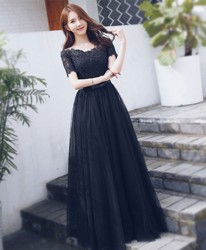 Black Lace Tulle Long Prom Dress Short Sleeve Formal Dress