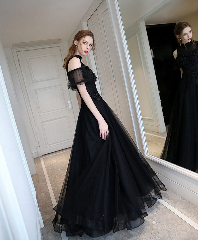 Unique black high neck tulle long prom dress, black evening dress