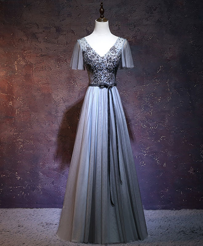 Dark gray v neck long prom dress, gray evening dress