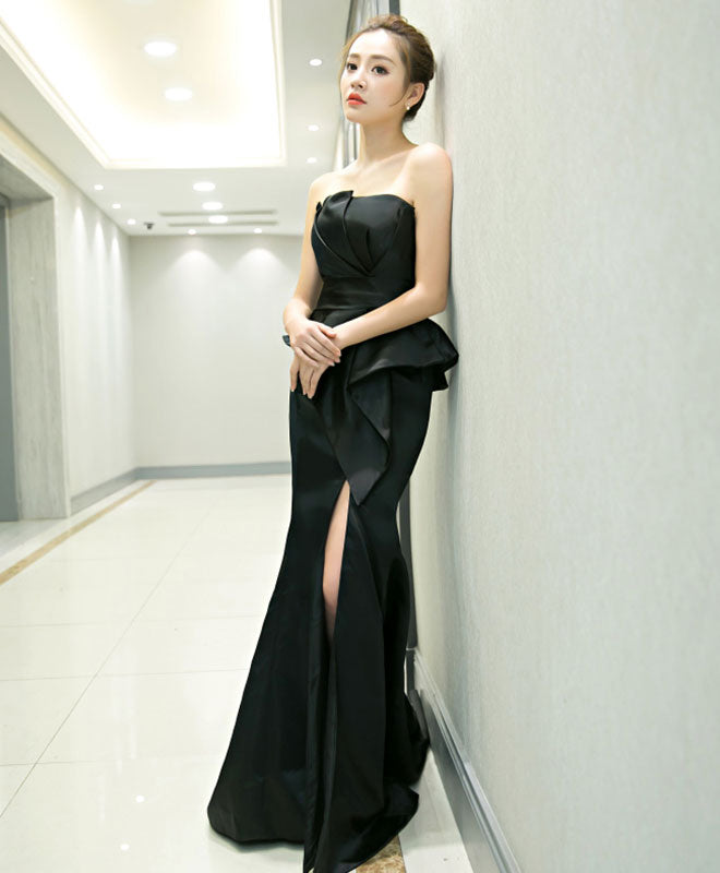 Unique black mermaid long prom dress, black evenng dress