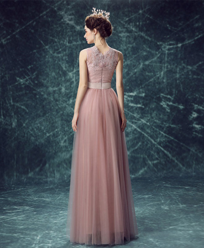 Pink tulle lace long A line prom dress, lace evening dress