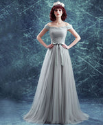 Gray tulle off shoulder long prom dress, evening dress