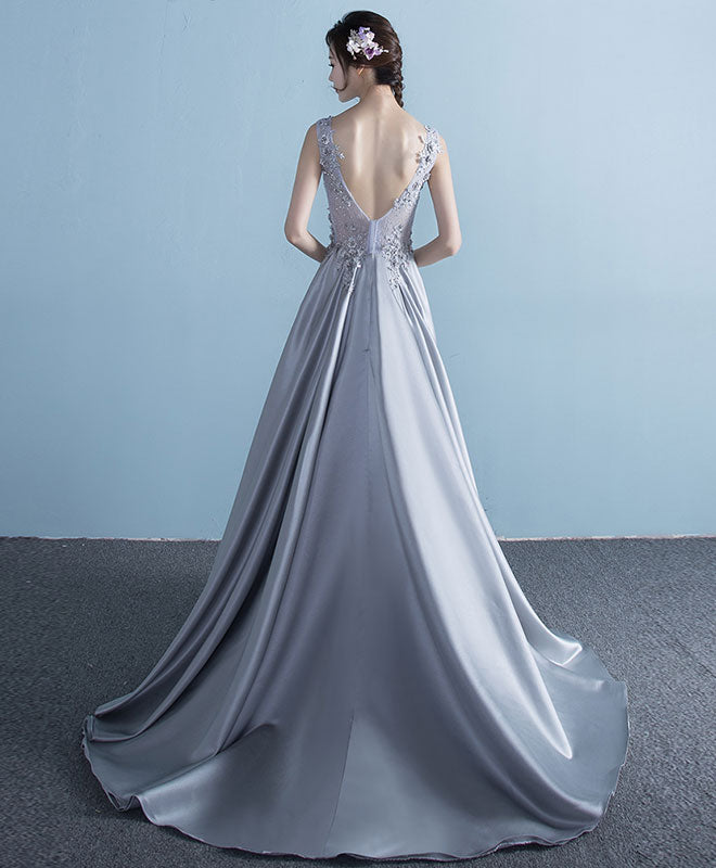 Gray lace satin long prom dress, lace evening dress