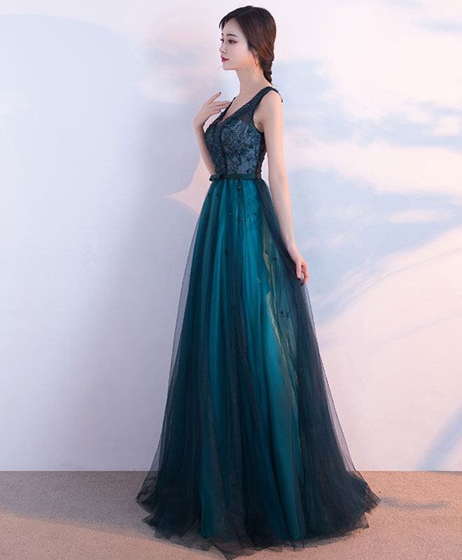 Elegant v neck tulle long prom dress, evening dress