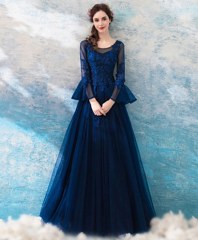 Blue round neck lace tulle long prom dress, lace evening dress