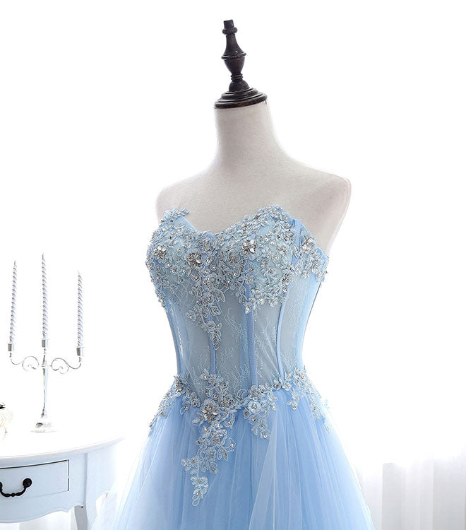 Light blue tulle lace long prom dress, formal dress