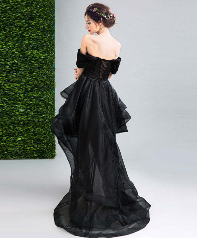Black high low prom dress, black evening dress
