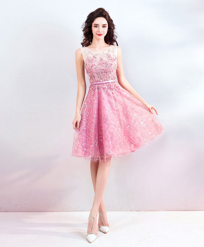 Pink round neck short prom dress, evening dress