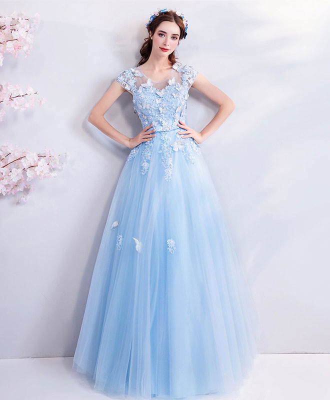 Sky blue lace tulle long prom dress, blue evening dress