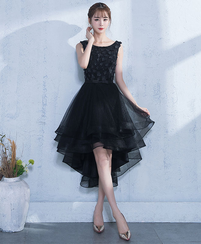 Black A-line tulle high low prom dress, black evening dress
