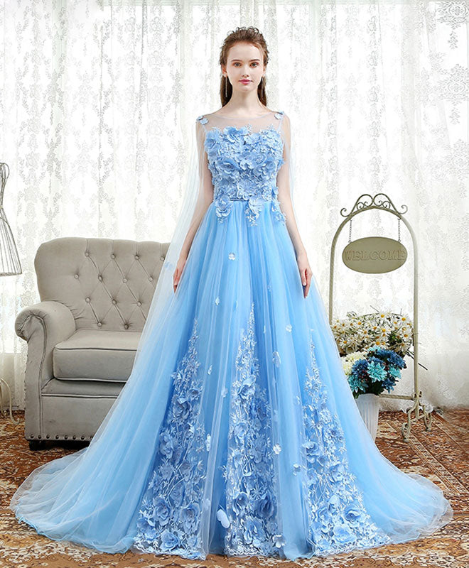 Blue round tulle long prom dress, blue evening dress