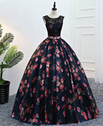Black lace long prom gown, black evening dress