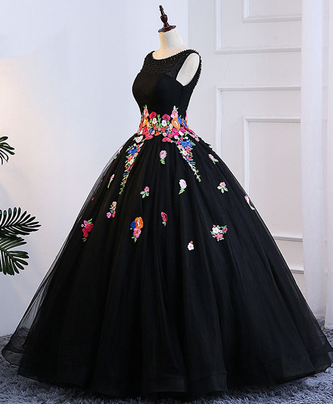 Black tulle long prom gown, black evening dress