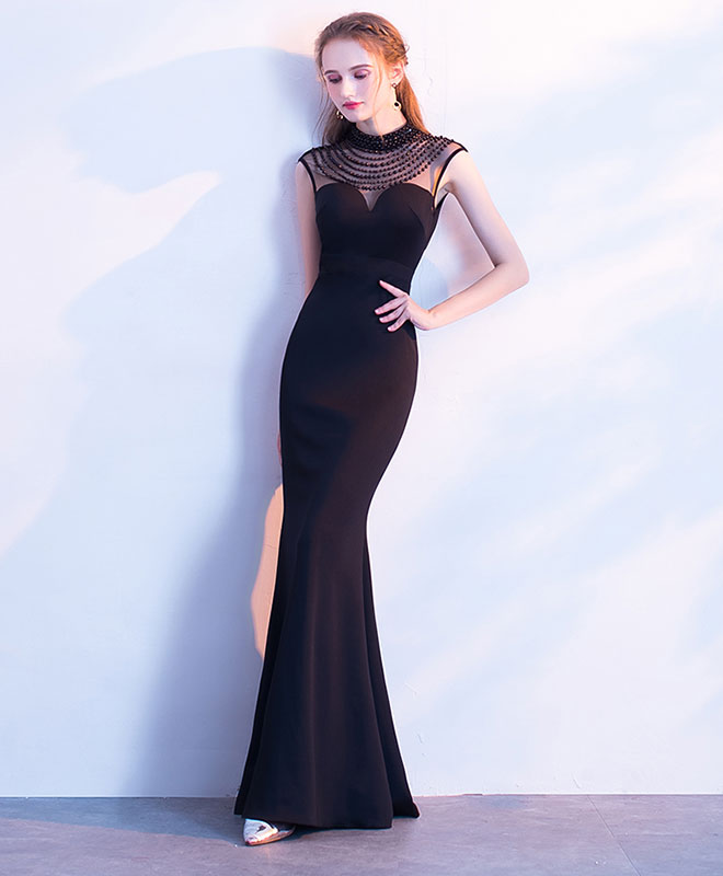 Blacke mermaid long prom dress, black evening dress
