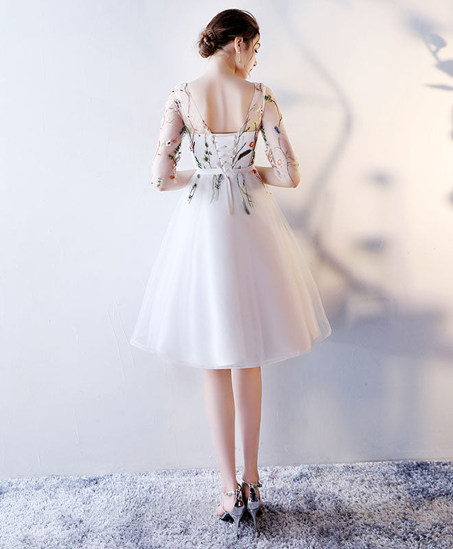 Cute round neck tulle short prom drdess, homecoming dress