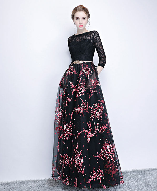 Black lace long prom dress, long sleeve prom dress – shopluu