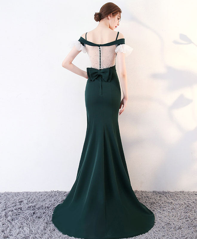 Green long prom dress, mermaid green evening dress