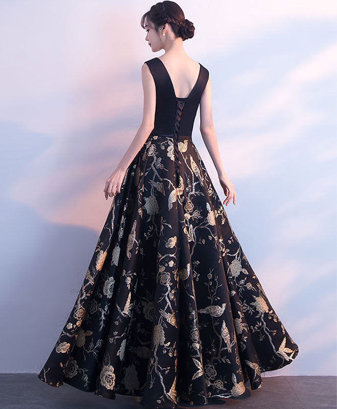 Black v neck floral pattern long prom dress, evening dress