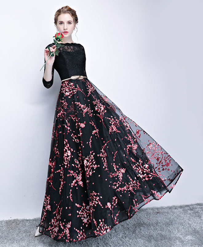 Black Lace Long Prom Dress Long Sleeve Prom Dress Shopluu