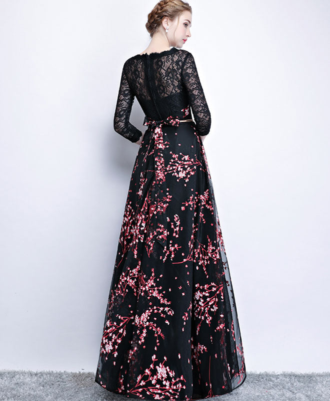 Black lace long prom dress, long sleeve prom dress