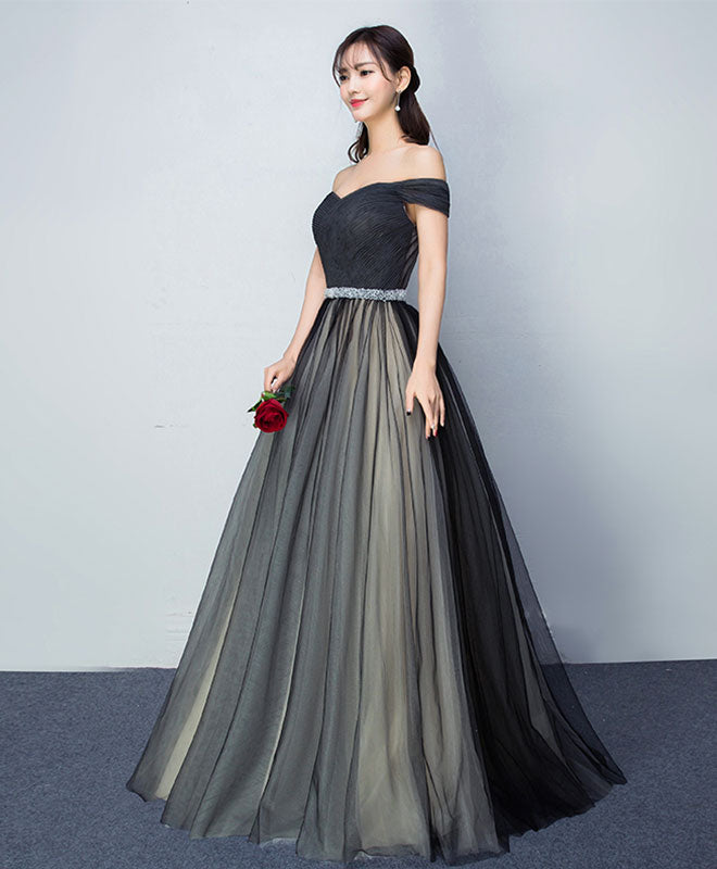 Black tulle v neck long prom gown, black evening dress