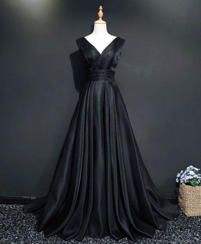 Simple black v neck long prom dress, black evening dress