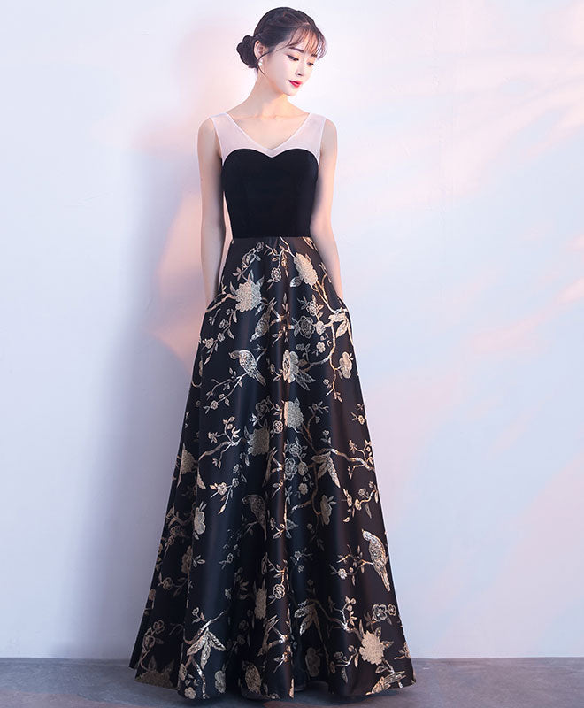 Black floral pattern long prom dress, black evening dress – shopluu