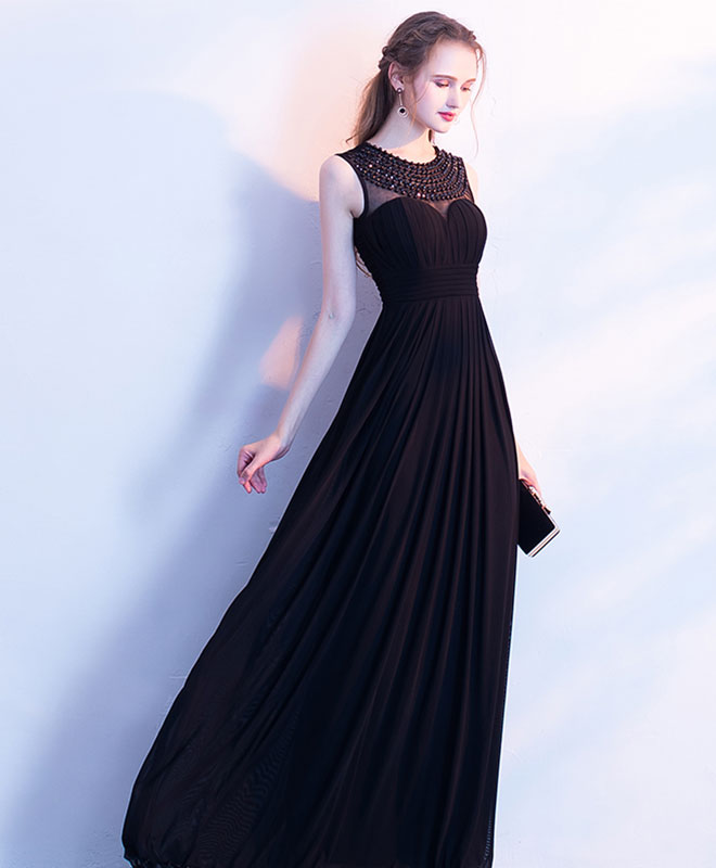 Elegant black chiffon long prom dress, black evening dress
