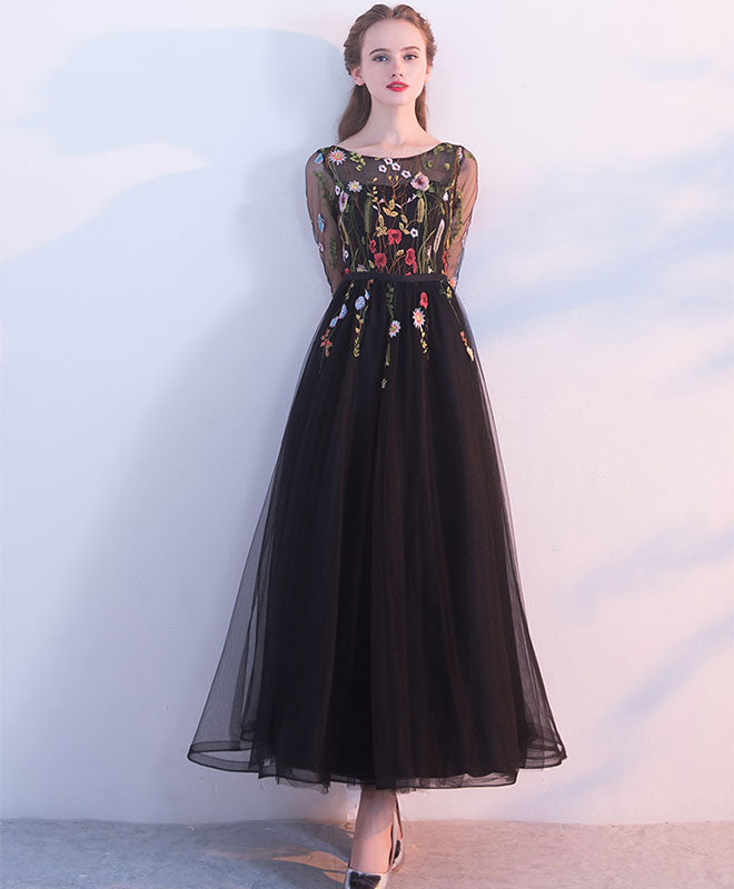 Black lace tulle long prom dress, evening dress