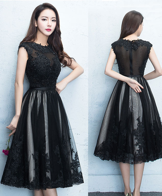 Black round neck lace tulle short prom dress, black evening dress