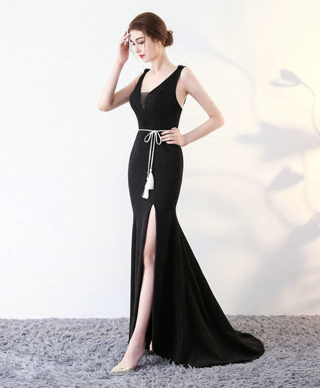 Black v neck long prom dress, mermaid evening dress