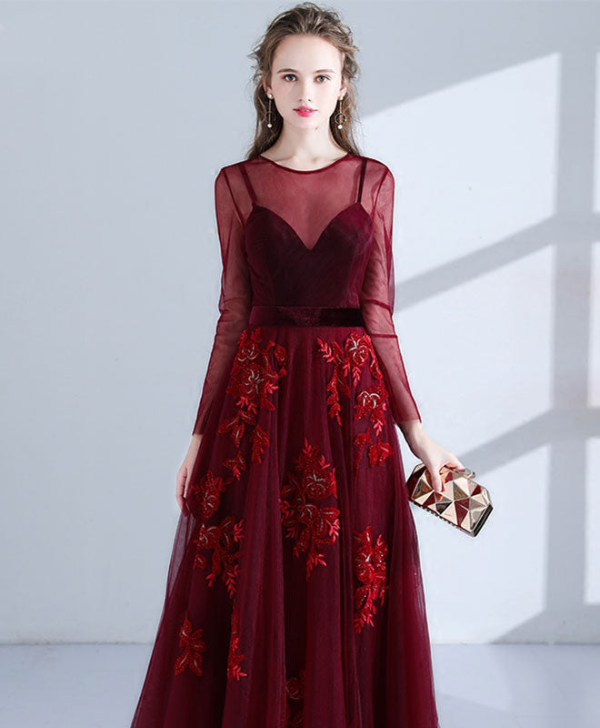 Burgundy lace long prom dress, long sleeve evening dress